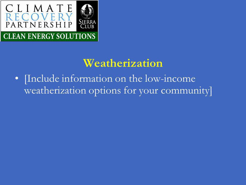 Weatherization [Include information on the low-income weatherization options for your community] 30